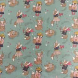 Punto Camiseta zorritos turquesa ( 60 x 140 cm)