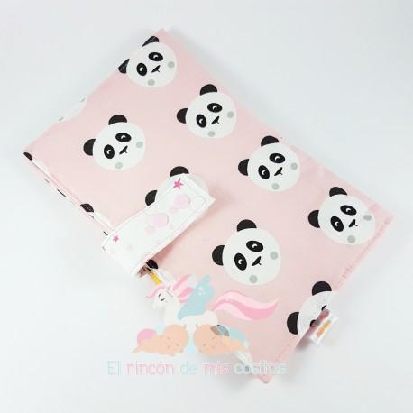 "Porta-pañales y Toallitas ""Pink Panda"""