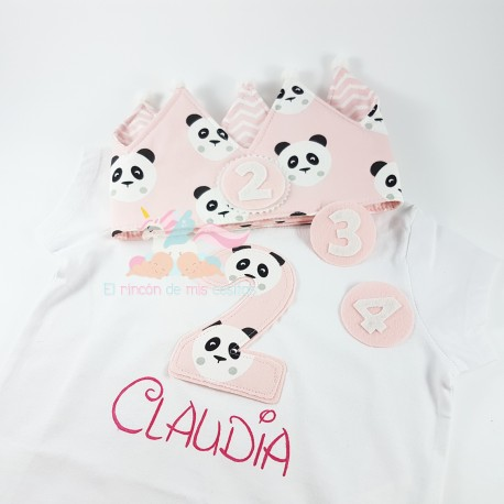 "Pack Camiseta + Corona ""PANDA ROSA"""