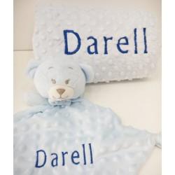 Manta topitos Azul bebe
